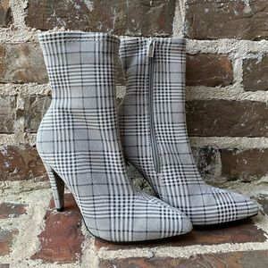 Plaid Midi Heeled Boots - Anne Michelle